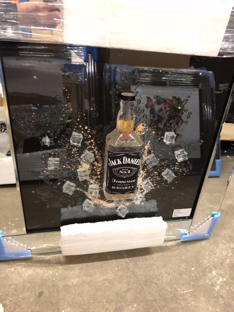 3d Jack Daniels wall Art Mirrored Frame ** 65cm x 65cm