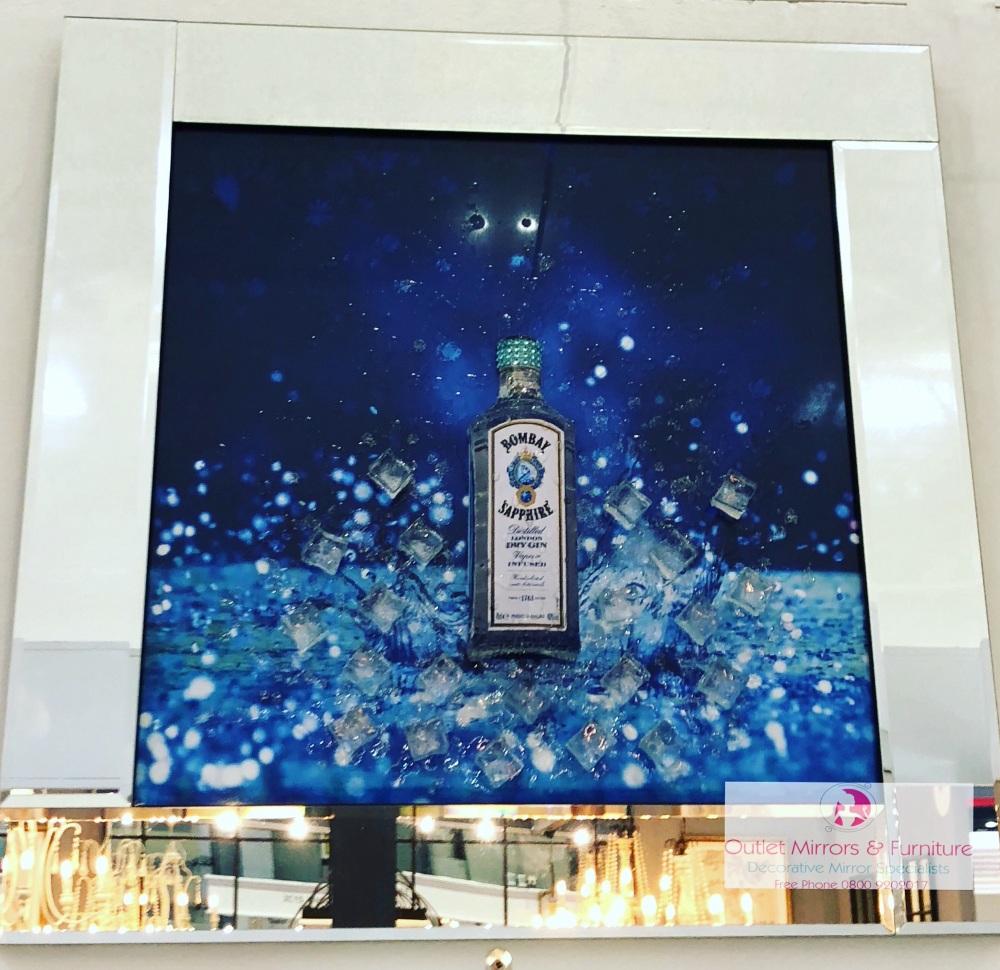 ** 3d Bombay Sapphire Glitter Art Mirrored Frame ** 75cm x 75cm