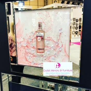 ** 3d Gordons Pink Gin Glitter Art Mirrored Frame ** 65cm  x 65cm