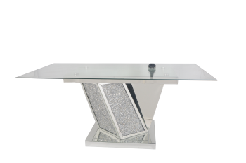 """* Diamond Crush Sparkle Mirrored  Dining Table """"Azuri"""" in stock for pre xmas delivery"""