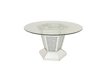"* Diamond Crush Sparkle Mirrored Dining Table Round ""Marseille"""