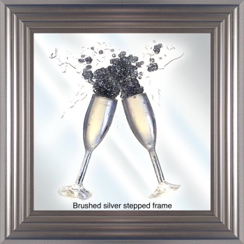 Jake Johnson 3D Champagne Flutes wall art on a Mirror background in choice of frames
