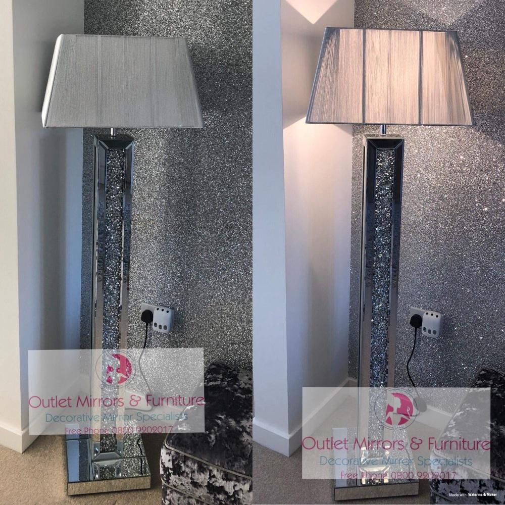 ^Diamond Crush Crystals Sparkle Mirrored Tall Floor Lamp Silver shade  30.5