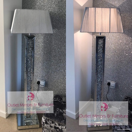^Diamond Crush Crystals Sparkle Mirrored Tall Floor Lamp Silver shade  30.5