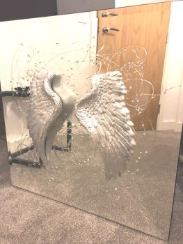 3D Angels Wings silver wall Mirror