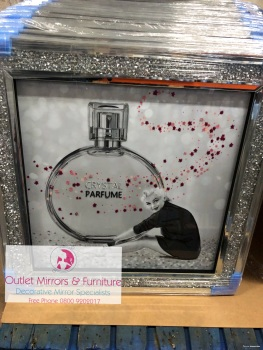 """Crystal Perfume"" Wall Art in a diamond crush mirrored Frame"