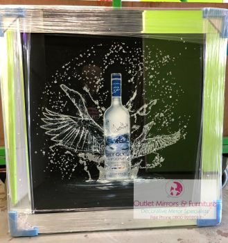 ** Grey Goose Glitter Art Mirrored Frame ** 86cm x 86cm  in stock for a quick delivery