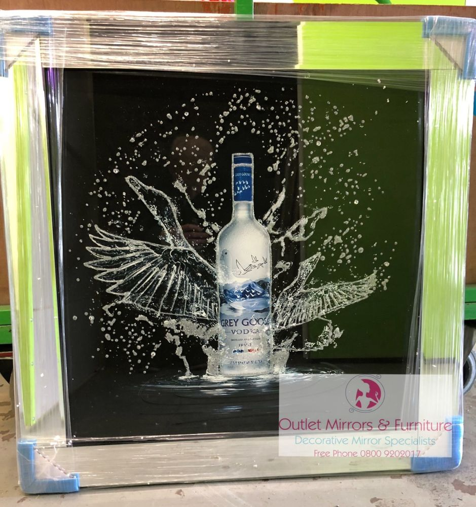 ** Grey Goose Glitter Art Mirrored Frame ** 86cm x 86cm  in stock for a qui