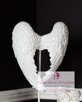 Angels Wings in White on a plinth 49cm x 11cm x 30cm