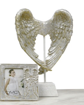 Angels Wings in Mother of Perl on a plinth 49cm x 11cm x 30cm