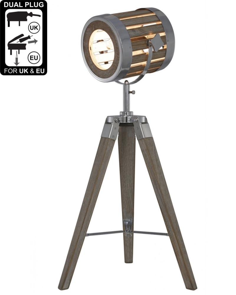 Grey Wood Hollywood Directors Table Lamp