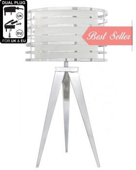 Hollywood Chrome Table Lamp With White Shade