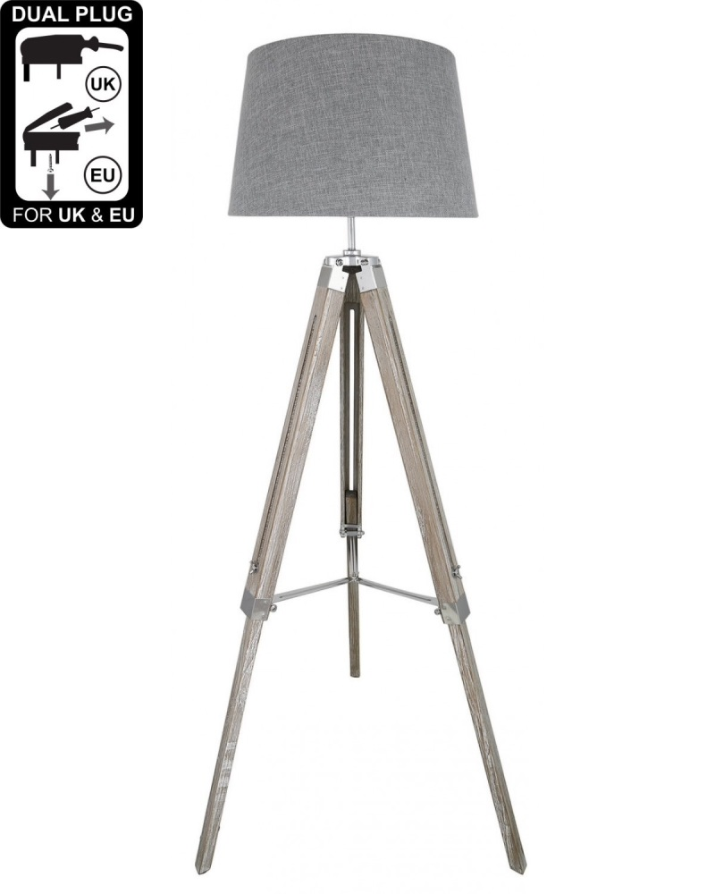 Hollywood Floor Lamp Natural Grey With Square Grey Linen Shade