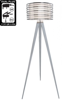Hollywood Chrome Floor Lamp With White Metal Outer Drum Shade