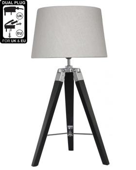 Hollywood Black Table Lamp With Natural Shade