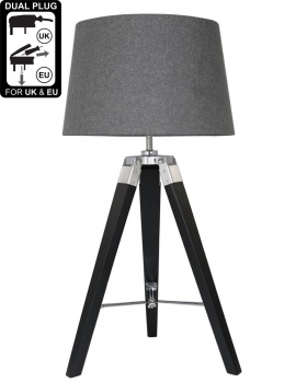 Hollywood Black Table Lamp With Charcoal Shade