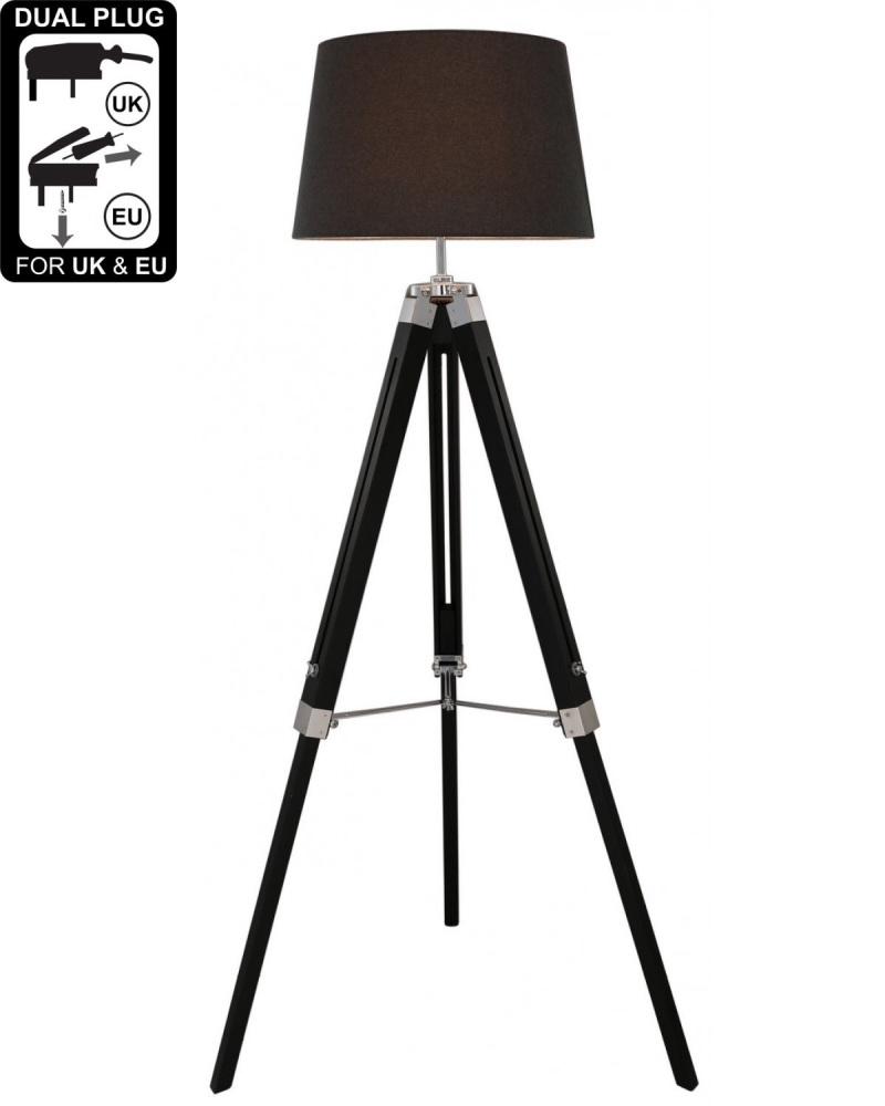 Hollywood Floor Lamp Natural Grey With Charcoal Shade