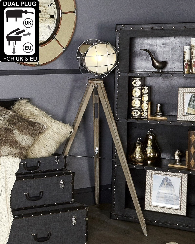 Hollywood Grey Wood Tripod Lamp With Spot Light