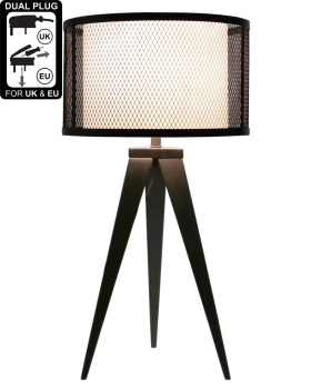 Hollywood Black Table Lamp With White Linen & Mesh Outer Drum Shade