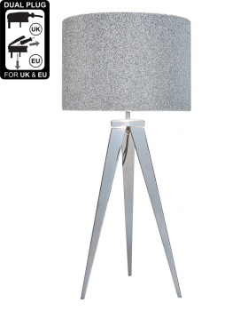 Hollywood Chrome Table Lamp With 13 Inch Glitter Drum Shade