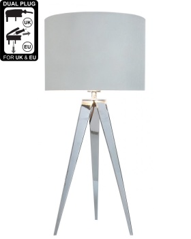 Hollywood Chrome Table Lamp With 13 Inch White Cylinder Shade