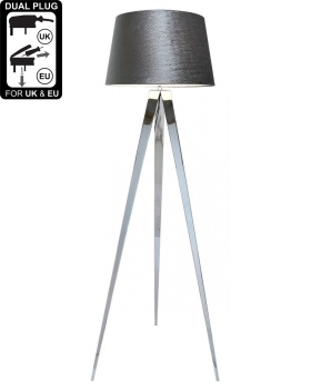 Hollywood Chrome Floor Lamp With 19 Inch Grey Velvet Drum Shade