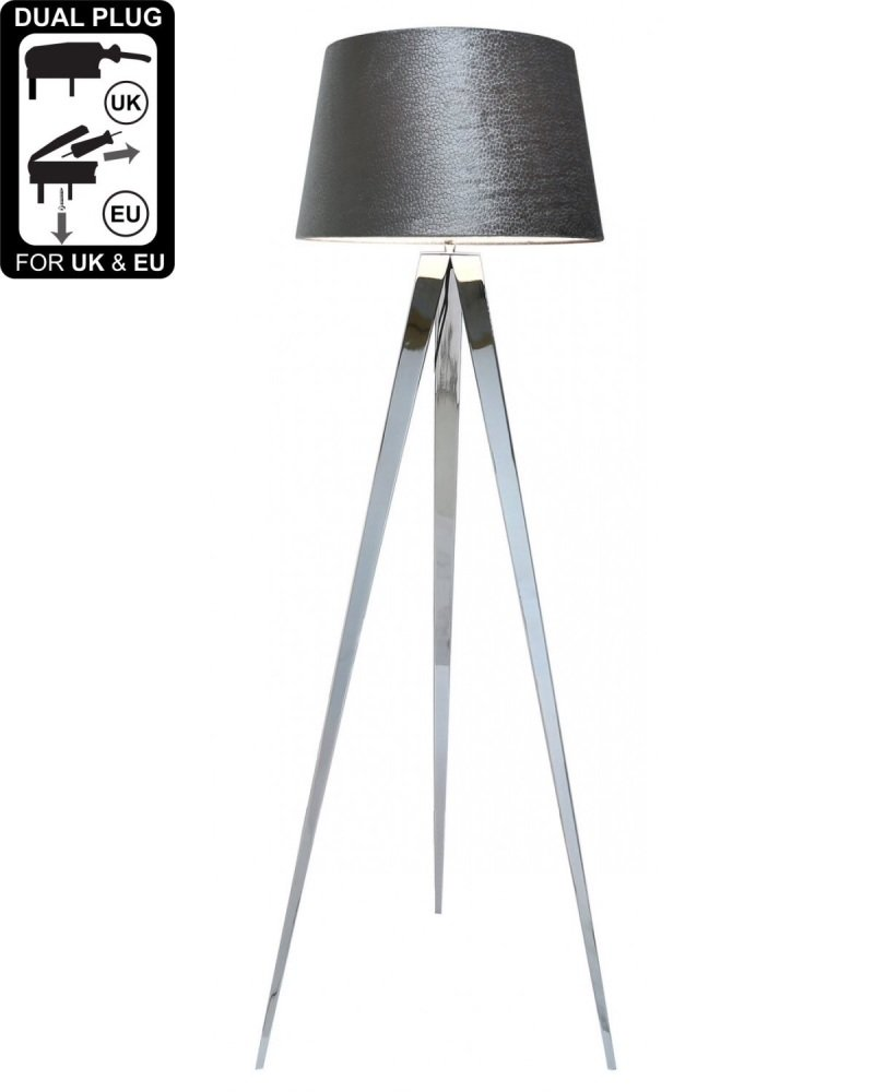 Hollywood Chrome Floor Lamp With 19 Inch Grey Velvet Drum Shade