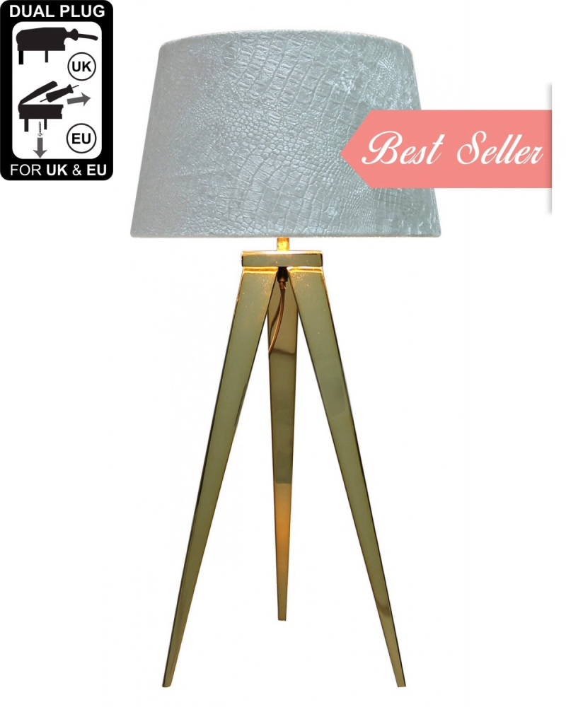 Hollywood Gold Table Lamp With White Shade