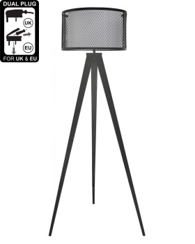 Hollywood Black Floor Lamp With White Linen & Mesh Outer Drum Shade