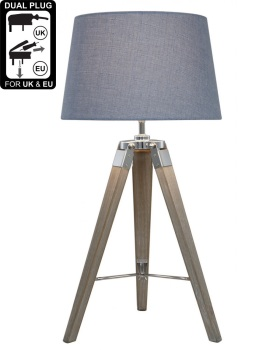 Hollywood Natural Grey Table Lamp With Blue Shade
