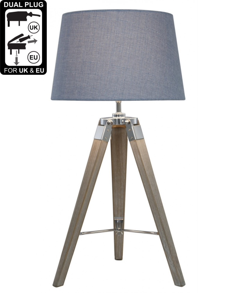 Hollywood Natural Grey Table Lamp With Blue Shade