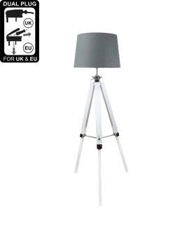 Hollywood white Floor Lamp With 17 Inch Grey Linen Drum Shade