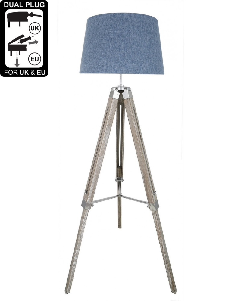 Hollywood Floor Lamp Natural Grey With Blue Linen Shade