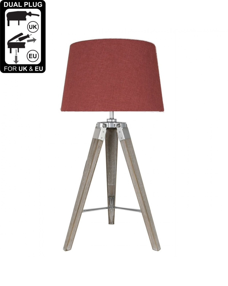 Hollywood Grey Table Lamp With Terracotta Linen Drum Shade