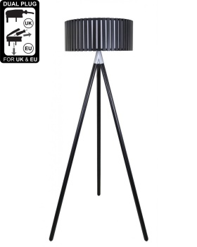 Hollywood Black Floor Lamp With Round Wooden Shade