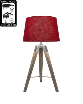 Hollywood Grey Table Lamp With Red Linen Drum Shade