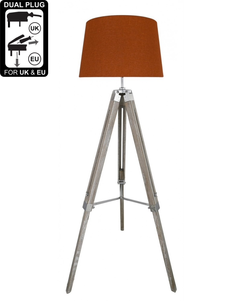 Hollywood Floor Lamp Natural Grey With Terracotta Linen Shade