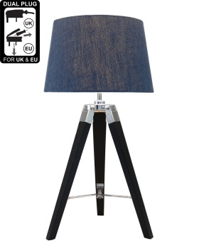 Hollywood Black Table Lamp With Blue Shade