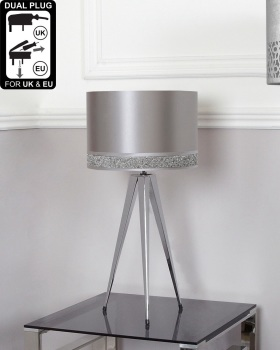 Hollywood Chrome medium Table Lamp With Silver Shade