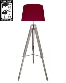 Hollywood Floor Lamp Natural Grey With Red Linen Shade