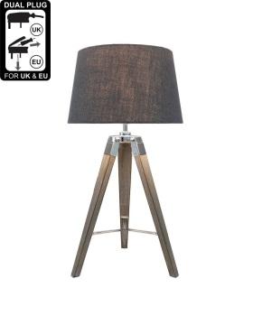 Hollywood Natural Grey Table Lamp With Grey Shade