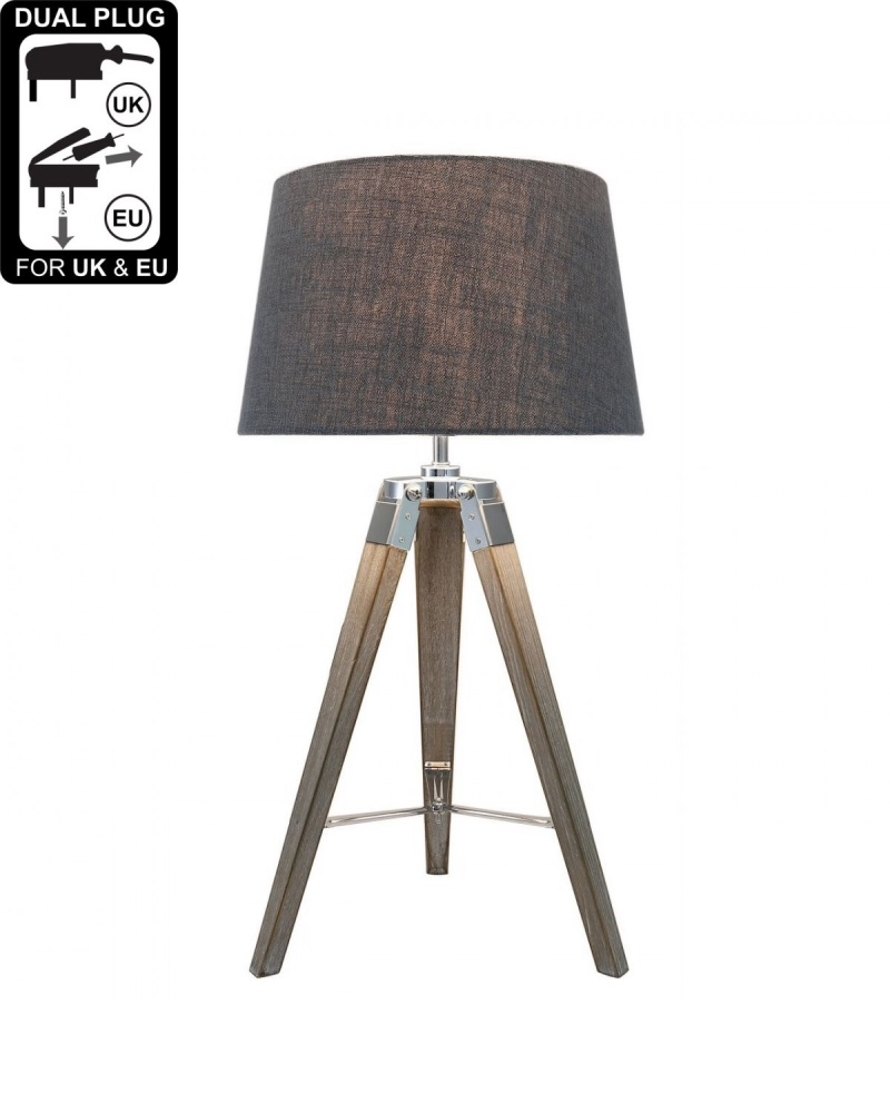Hollywood Natural Grey Table Lamp With Grey Shade