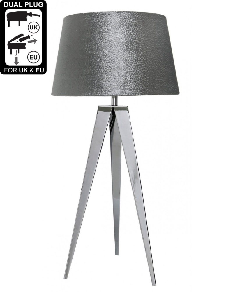 Hollywood Chrome Table Lamp With 13 Inch Grey Velvet Drum Shade