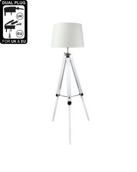Hollywood white Floor Lamp With 17 Inch Natural Linen Drum Shade