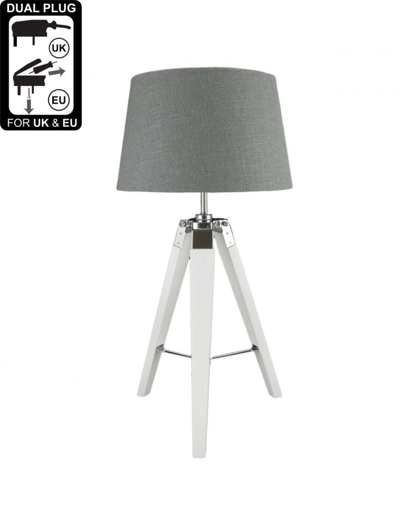 Hollywood White Table Lamp With 13 Inch Grey Linen Drum Shade