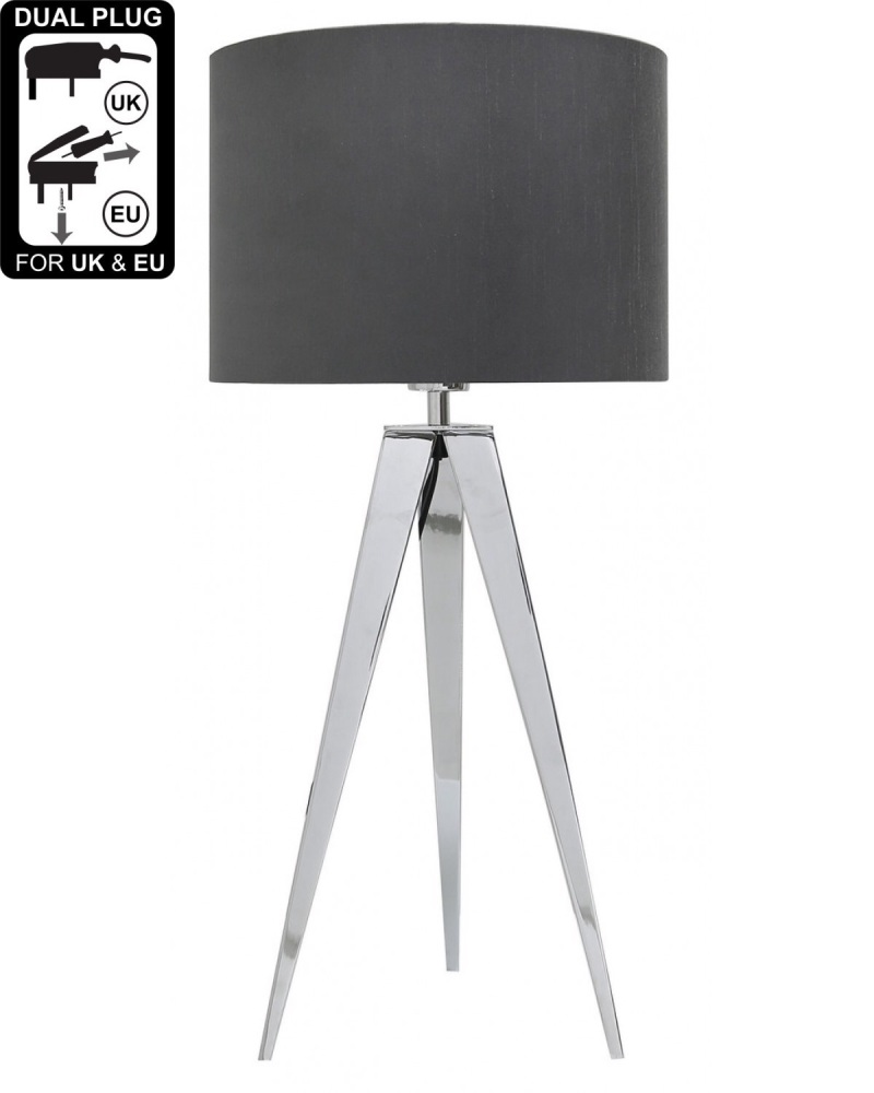 Hollywood Chrome Table Lamp With 13 Inch Grey Faux Silk shade