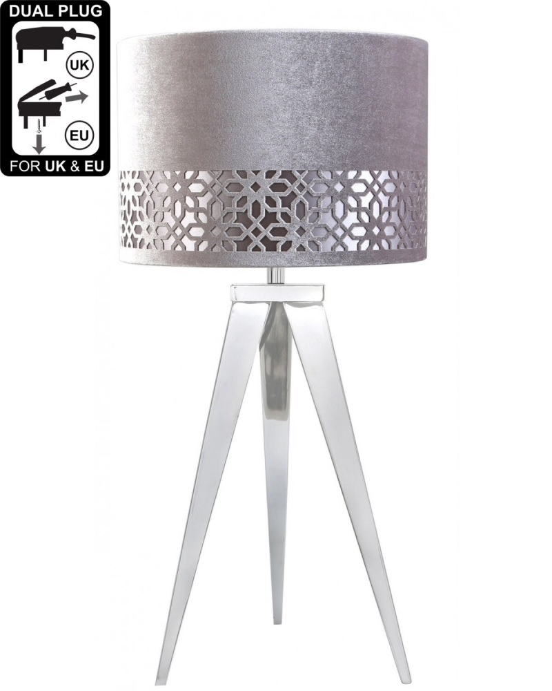 Hollywood Chrome Medium Table Lamp With Grey Shade