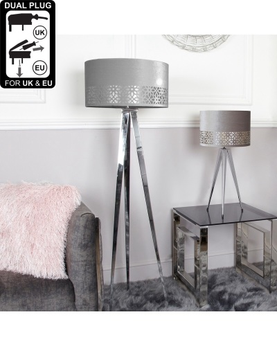 Chrome Large Floor Lamp With Grey Shade