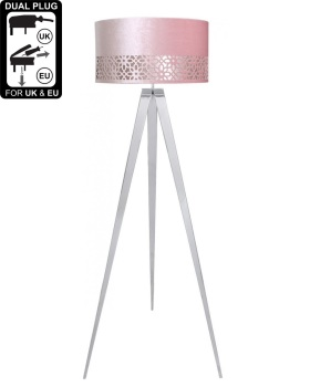 Hollywood Chrome Large Floor Lamp With Pink Shade