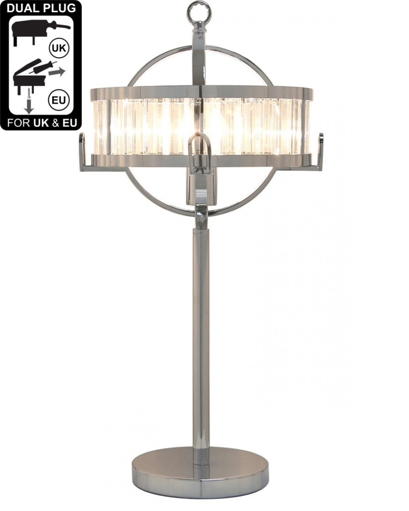 Small Chrome & Crystal Hollywood Table Lamp With Clear And Chrome Drum Shad